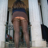 Rear Exposure - Stockings , Rear Exposure, Outdoor Tease, Upskirt Black Stockings