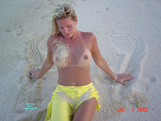 Topless Girlfriend At Beach - Blonde Hair, Tan Lines, Topless Girl, Topless, Naked Girl, Nude Amateur , Yellow Trousers, Sexy Tan Lines, The Boobs Are Out, Large Tan Lined Tits, Sandy Tit, Yellow Sarong Skirt, Sandy Skin, Nude Beach