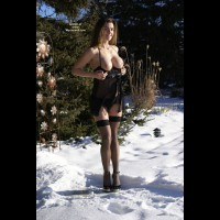Sexy In Snow - Big Tits, Heels, Long Legs, Natural Tits , Contrasts In Colors, Black Thigh Highs, Nice Big Natural Tits, Black Camisole, Black Ankle Strap High Heels, Sexy Lingerie, Black Teddy
