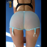 Bent Over - Bend Over, Bra, Sexy Panties , Bent Over, Fishnet Pantyhose, Blue Panties, Black Bra