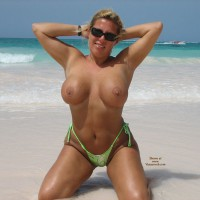 Busty Blonde Topless Girl Kneeling On Shore - Blonde Hair, Huge Tits, Topless, Naked Girl, Nude Amateur , Monokini On White Beach Sand, Melons On Beach, Huge Tits On The Beach, Topless Beach, Large Round Tits, Green & Silver String Bikini Bottom, Nude Sunbathing