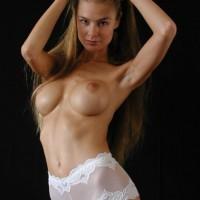 White Lace Panties - Brunette Hair, Sexy Panties , White Lace Panties, Topless Studio Shoot, Long Brunette Hair, White Hipster Panties, Looking At Camera