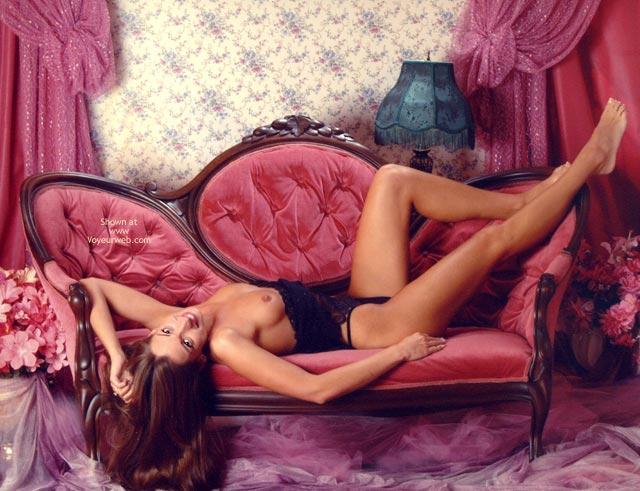 Victoria S Secret , Victoria S Secret, Lying On Pink Victorian Sofa
