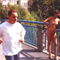 A Running Guy Ignoring Her , A Running Guy Ignoring Her, Full Nude On Bridge, Nude In Public
