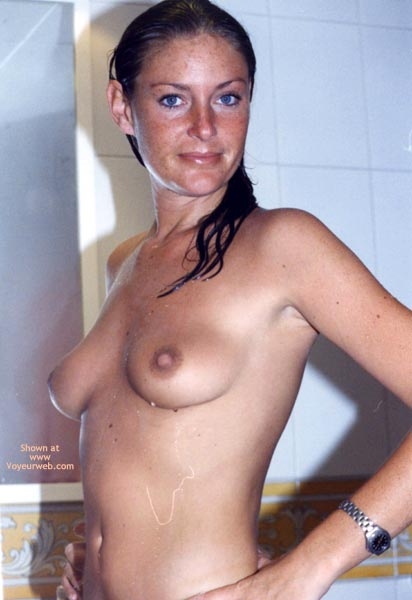Wet And Topless - Blue Eyes, Wet , Wet And Topless, Nude And Wet, After Shower, Blue Eyes, Large Nipple, Soaking Wet