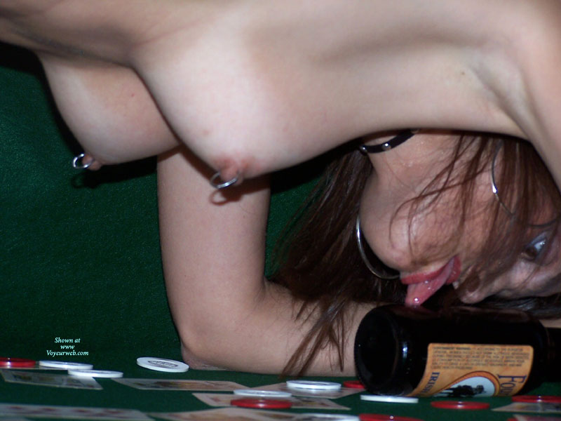 Strip Poker Loser - Brown Eyes, Pierced Nipples , All Fours With Tongue Out, Phallic Beer Bottle, Lick The Bottle, Crouched On Poker Table, Licking A Bottle, Crawling On A Poker Table, Pierced Tits, Pierced Ring Nipples, Nipple Rings, Brown Eyes