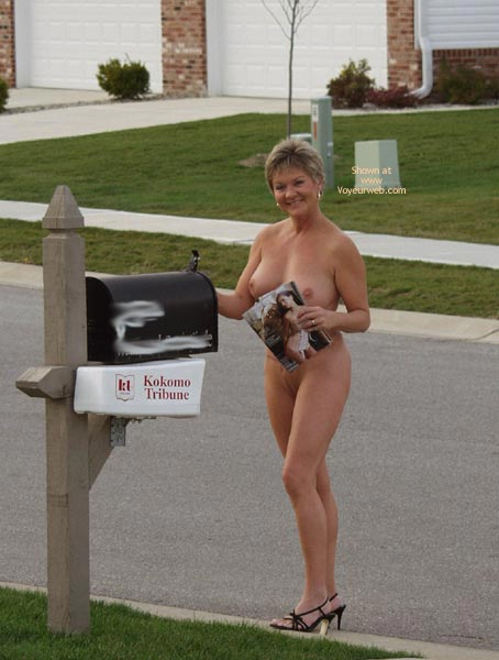 Going Postal And Nude , Going Postal And Nude, Black Heels Naked On Public Street, Mail Box Female Box, Nude In Public