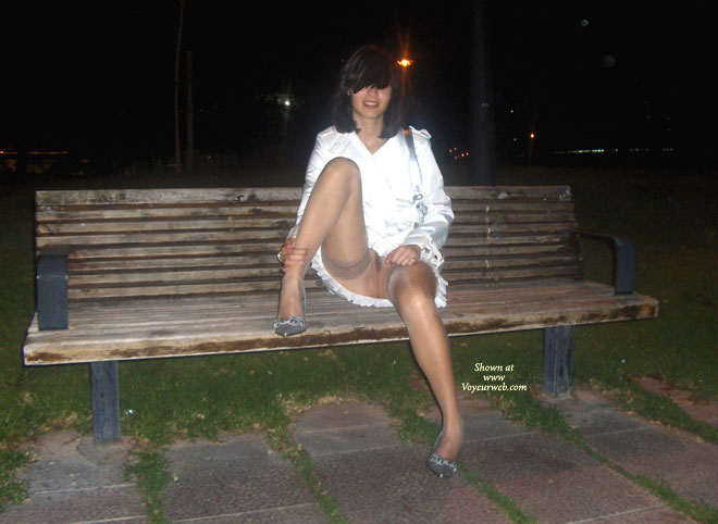 Brunette Sitting On Bench In White Dress And No Panties - Brown Hair, Brunette Hair, Dark Hair, Heels, Spread Legs, Naked Girl, Nude Amateur , Sitting On Bench With Legs Spread, White Mini Dress, Stockings, Nylon Stockings, No Panties, White Dress & High Heels, Nude Lace Top Thigh-high Stockings, Gray High Heels, Pantyless White Dress, Shoulder Length Dark Brown Hair