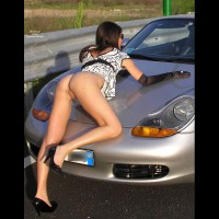 Wife Exposing Her Ass And Pussy - Doggy Style, Long Legs, Naked Girl, Nude Amateur , Pantieless In Public, Black Pointed Stilletto Heels, Porsche Boxter, Half Nude On Side Of Road, Black And White Dress, Doggy Style On The Car, Girl & Car, White Dress Hiked Up With Shot From Rear Showing Her Pussy, Long Black Gloves, Long Lean Legs