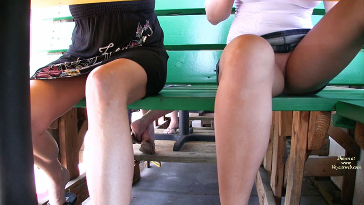 Upskirt - No Panties - Upskirt , Up-skirt, Two Girls Up Skirt Under Bench, Upskirt Shot Of Pussy, Denim Skirt, Outdoor Dining Upskirt, White Top, Upskirts, Upskirt Under Table - Times Two, Black Dress, Up Skirt On Bench