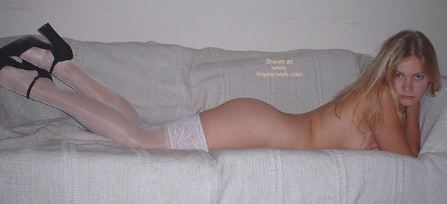 White Thigh Highs - Heels , White Thigh Highs, Lying On Stomach, Black Heels