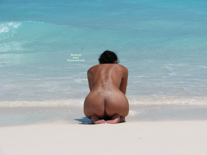 Nude In Surf - Nude In Public, Naked Girl, Nude Amateur , Kneeling From Behind, Blue Sea, Nudist On Beach, Bottoms And Feet, Tropical Girl, Public Show, Kneeling, Nude Beach, Naturist Beach