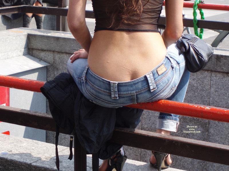 Voyeur Shot Of Low Jeans - Heels , Black Patent Leather High Heels, Low-rise Jeans, Black See Thru Top Blouse, Blue Denim Jeans