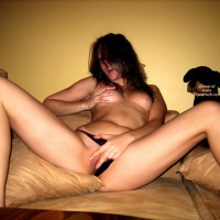 Girlfriend On Bed Playing With Herself - Large Aerolas, Long Legs, Spread Legs , Legs Apart, Dark Her, Fingering Herself, Playing On Bed, Touch Myself, Black Tanga Panty, Pulled Aside, Long Lean Legs, Spread Legs