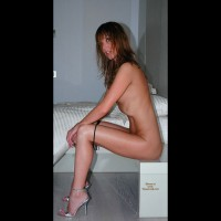Nude Girl Sitting - Brunette Hair, Long Hair, Long Legs, Naked Girl, Nude Amateur, Sexy Legs , Model With Panties Down, Long Brunette Hair, Classic Nude, Skinny Body, Black G-string, Profile Of Naked Girl, Sitting On A Small Table Beside Bed, Sexy Shoes, Silver Very High Heeled Sandals, Sexy Look