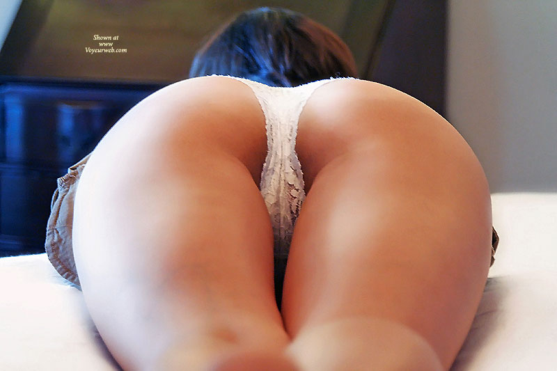 White Thong On A Pefect Ass - Round Ass, Sexy Ass , Backside View, White Lace Panties, Slender Thighs, Crotch Shot, Hot Ass And Thighs Shot, Up Shot White Lace, Heart Shaped Ass