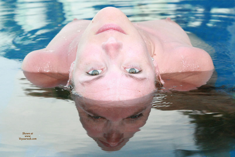 Cool Reflection With Erect Nipples - Looking At The Camera , Looking Directly To Camera, Bent Over Backwards, Laying Back In Water Looking Over Head With Eyes Locked On Camera, Green Eyes, Mirror Image, Nipples Pointing Toward The Sky, Water Reflection, Reflection In Water