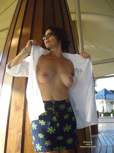 Open White Shirt - Big Tits, Flashing , Open White Shirt, Public Flashing, Open Shirt Showing Big Tits, Blue Flowered Skirt