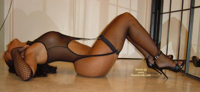 Black Fishnet Lingerie - Heels , Black Fishnet Lingerie, Black Spike Heels, Lying On Back, High Heels, Dressed Sexy
