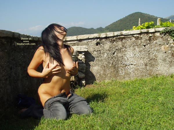 Pants Down - Big Tits , Pants Down, Touching Tits, Outdoor Posing, Touching Big Breasts, Hands On Boobs