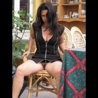 Pantyless Girl Flashing Her Pussy - Black Hair, Dark Hair, Flashing, Long Hair, Trimmed Pussy , Black Haired Puss, Flashing Pussy, Pantyless, Black Dress, Short Black Dress, Zipper Dress, Sexy Upskirt
