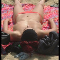 Beach Voyeur - Large Breasts, Perky Nipples, Topless, Beach Voyeur , Tan, Large Natural Breasts, Pointed Nipples, Topless On Beach, Peach Bikini Bottoms, Pierced Nose