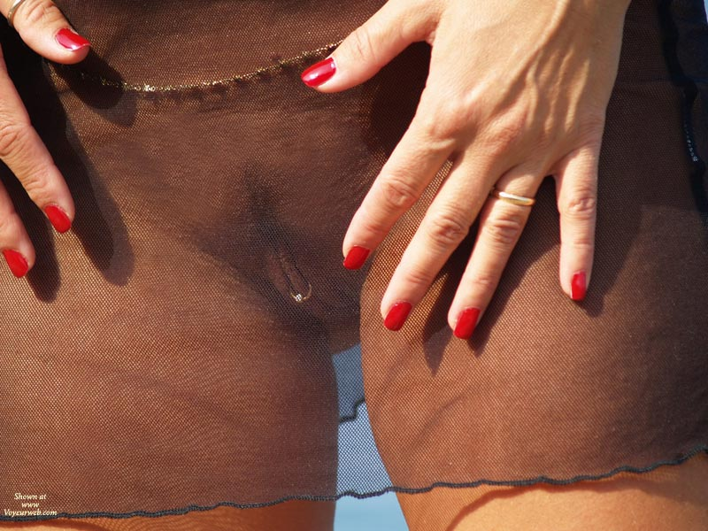 Clitoris Piercing , Pierced Pussy, Body Jewerly, Red Finger Nails, Belly Chain, Sheer See-through, Sheer Black Skirt