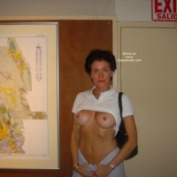 Exhibitionist - Exhibitionist, Flashing Tits, Long Nipples, Short Hair , Exhibitionist, Flashing Tits, Short Hair, Long Nipples, White Blouse, Black Purse