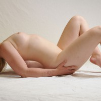 Nude Girl Arched Back On White - Blonde Hair, Natural Tits, Pale Skin, Small Tits, Spread Legs, Naked Girl, Nude Amateur , Pale Skin, Small, Full Nudity, Small Pink Nipples