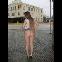 Flashing Ass In Public - Long Hair , Flashing Ass In Public, Street Corner, Bare Ass Outdoors, Long Hair