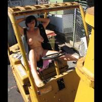 On Heavy Equipment Nude Open Vest - Nude Outdoors , On Heavy Equipment Nude Open Vest, Construction Site, Outdoor Nudity