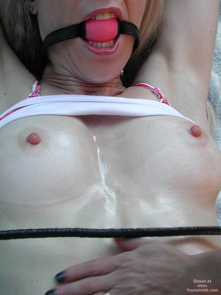 Crop And Hand On Her Belly - Erect Nipples, Pink Nipples , Crop And Hand On Her Belly, Red Ball Gag, Tits Ready For Torture, Erect Pink Nipples, Pasty Boobs, Light Aerolas, Erect Nipples