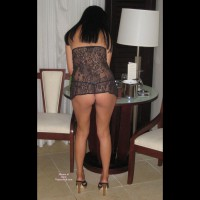Black Lace Babydoll - Black Hair , Seethrough In Heels, Standing Indoors, Shot From Behind, High Heeled Sandals, Black Lingerie, Black Thong, Black Hair., Behind View G-string, Legs And Ass, Black G-string, Dressed In Lace, Legs And Heels
