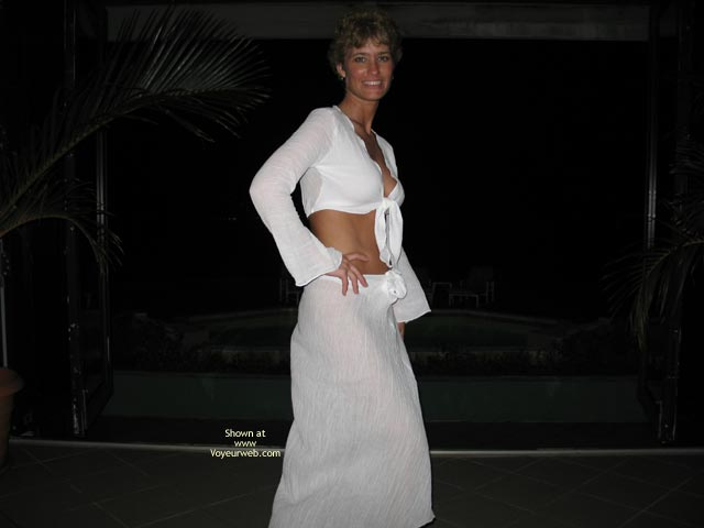 Peek At Breast - Flat Stomach , Peek At Breast, Thin Waist Flat Stomach, Long White Skirt, White Crop Top, At Night In White