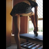Bottomless Upskirt Shot - Upskirt , Black Platform Heels, Black Top, At The Window, Low Camera Angle, From Below, Black Micro Skirt, Bottomless Upskirt, Backlit In Front Of Window, Up-skirt By Window, Natural Light, Bottomless, Extreme High Shoes
