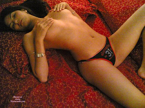 Hands Covering Nipples - Spread Legs, Looking At The Camera , Alternative Red Black Panties, Covered Tits, Cute Underwear, Red Black Panties, Laid Back, Rubbing Nipples On Red Bed, Athletic Panties, Slim Athletic Young