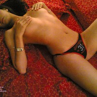 Hands Covering Nipples - Spread Legs, Looking At The Camera , Alternative Red Black Panties, Covered Tits, Cute Underwear, Red Black Panties, Laid Back, Rubbing Nipples On Red Bed, Athletic Panties, Slim Athletic Young