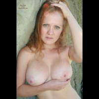 Topless Wife Confused Expression On Face - Big Tits, Blonde Hair, Blue Eyes, Red Hair, Topless, Topless Wife , Readhead Love, Cupping Breast, Nice Big Tits, Green Eyes, Busty, Freckled Skin, Outdoor Topless, Carrying Her Breasts With One Hand, Strawberry Blonde