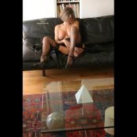 Black Stockings - Heels, Mature, Short Hair, Stockings , Black Stockings, Topless Mature, Sweet Boob, Black Leather Couch, Black High Heels, Short Hair