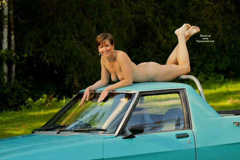 Naked On The Car Roof - Brunette Hair, Milf, Perky Tits, Naked Girl, Nude Amateur , Naked Outside, Sexy Milf Body, Car Top Nude, Full Breasts, Car Surfing Beauty, Short Hair, Bright Smile