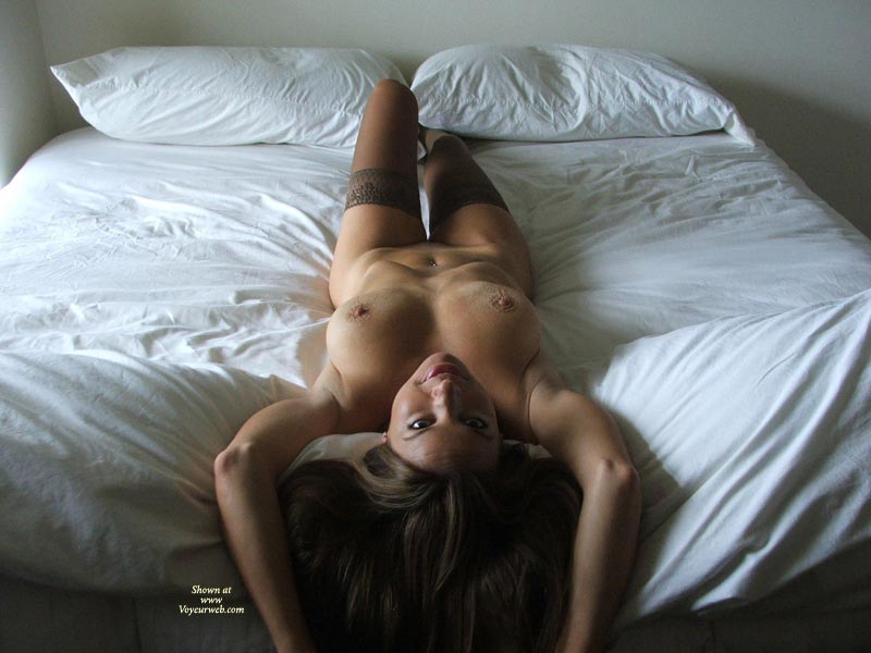 Milf Landscape On White Sheets - Milf, Nude Amateur , Stout, Athletic Full-busted Beauty, Open Invintation, Lying On Back With Arms Up, Erect Nipples And Knobby Areolas, Top Down View Of Nude On Bed, Lying On A Bed, Nude With Stockings, Hair Down Over Foot Of Bed, Long Athletic Body Reclined From Above
