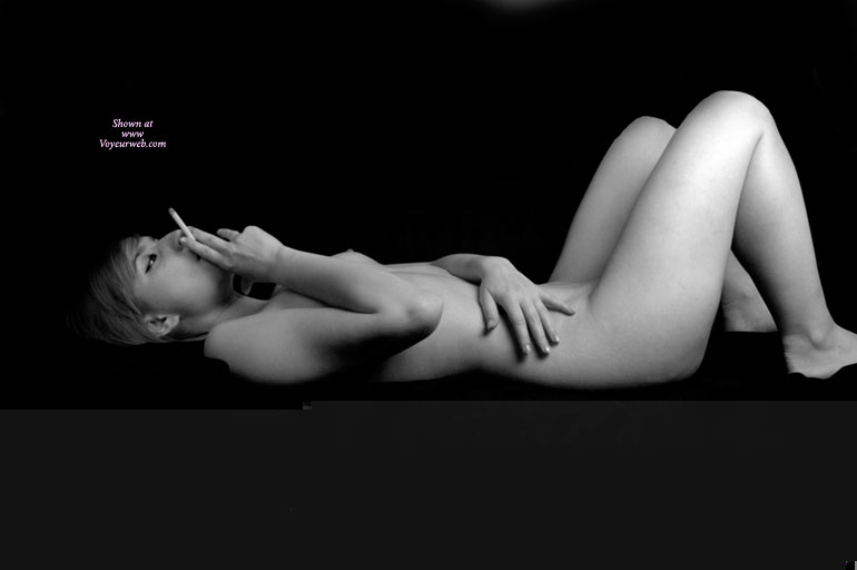 Lying Naked And Smoking - Naked Girl, Nude Amateur , Smoking A Cigarette, Smoking, Black And White, Laying On Back Knees Raised, Black And White Side View, She Smokes Before Sex, Artistic On Couch, Lying Down, Knees Raised, Peeking Nipple, Nude Laying Down Smoking, Laying Down Knees Up