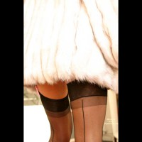 Rear Closeup - Close Up, Rear View , Rear Closeup, Black Stocking, Rear Shot, Legs Under White Fur Coat