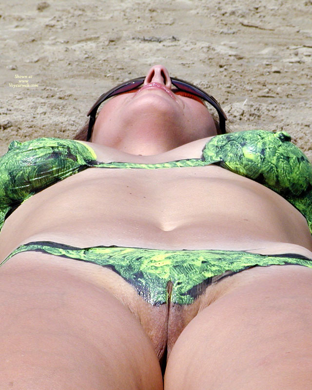 Painted Bikini Pussy View - Milf, Sunglasses, Naked Girl, Nude Amateur, Nude Wife , Green Black Painted Bikini, Body Painting, Latex Playtex, Camel Toe, Shaven Labia, Dark Sunglasses, Excited Nipples, Painted Body, Naked Wife, Naked Milf