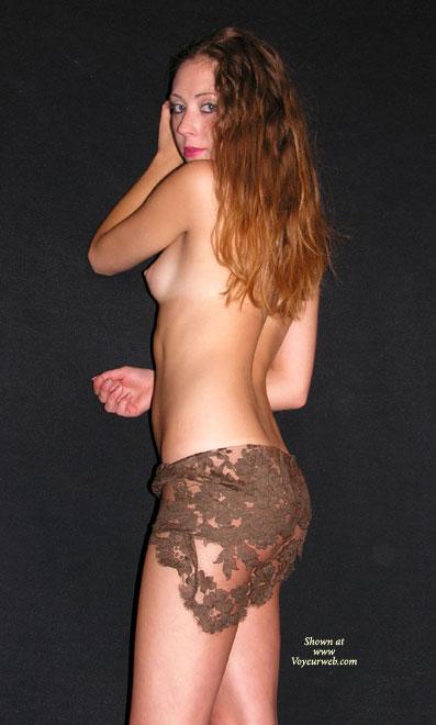 Nude On Public Strret , Nude On Public Strret, Lacy Lingerie, Side Boob, Slender Topless Beauty