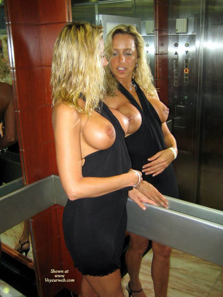 Wife flashing tits in elevator