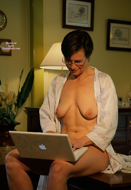 Naked With Robe Open Indoors Online - Dark Hair, Milf , Milf Using Apple Laptop, Short Dark Hair With Glasses, Slightly Matured Breasts, Smiling With Robe Open, Surfing Internet Naked, Flower Pattern Robe, Short Dark Straight Hair, Big Areolas, Wearing A Pair Of Wire Rimmed Glasses Naked