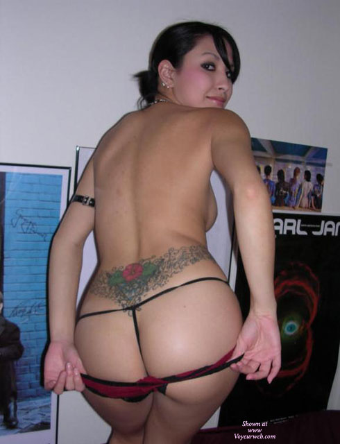 Bedroom Peep Show - Round Ass , Nice Round Ass, Black Gstring Rear View, Ass Shot, Sweet Ass, Looking Back, Ultra Small Thong, Lower Back Tattoo, Looking Over Right Shoulder, Red And Black Panties