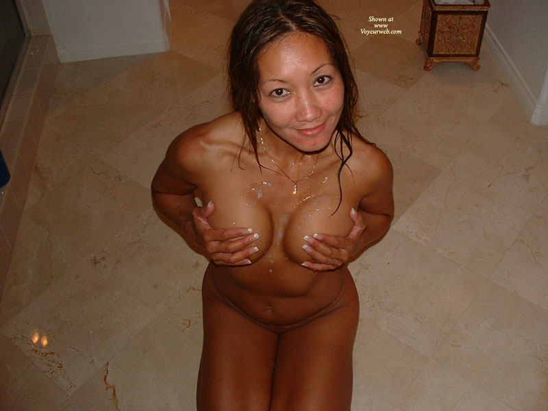 Cum On Tits , Kneeling Naked Woman, Asian On Her Knees Displays Jism, Melon Lotion, Smiling Knowingly To Camera, Pearl Necklace, Asian Kneeling With Come On Chest, Cum Shot, Hands On Breasts, Cum Covered, Cleavage