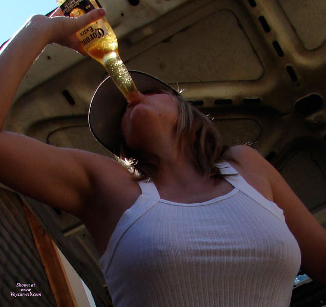 Ribbed White Cotton Tank Top - Brown Hair, Long Hair , Braless Tank Top, Firm Breasts, Produce Placement, Nipple Tease, Sucking Bottle, See-through, Beer Drinking, Chugging Beer At The Beach